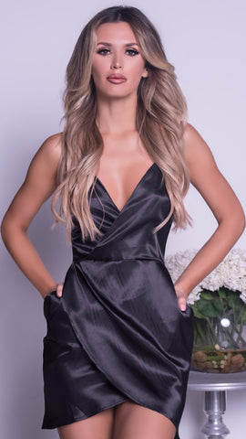 MICHELLE DRESS IN BLACK SATIN