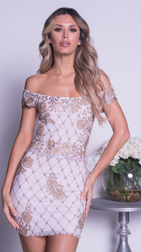 MOKARE DRESS IN WHITE WITH GOLD
