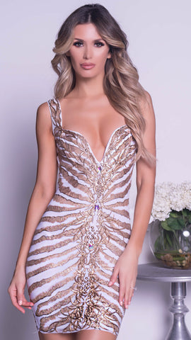 RUNY DRESS IN WHITE WITH GOLD - MORE COLORS