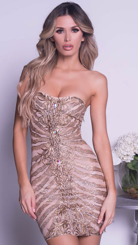 RUMY DRESS IN NUDE WITH GOLD
