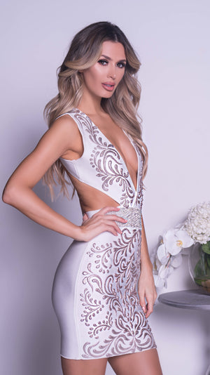 GADENY PAINTED BANDAGE DRESS IN WHITE WITH GOLD - MORE COLORS