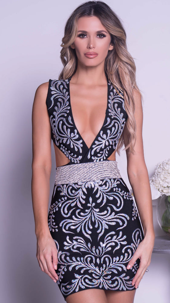 GADENY PAINTED BANDAGE DRESS IN BLACK WITH SILVER - MORE COLORS