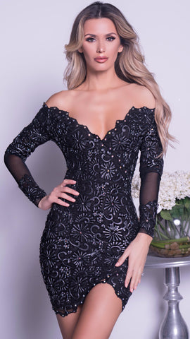 LAURA LACE DRESS IN BLACK