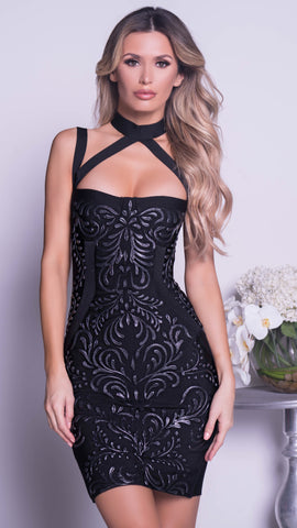 AMIRA PAINTED BANDAGE DRESS IN BLACK