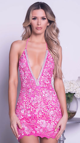 FORYA LACE DRESS IN HOT PINK