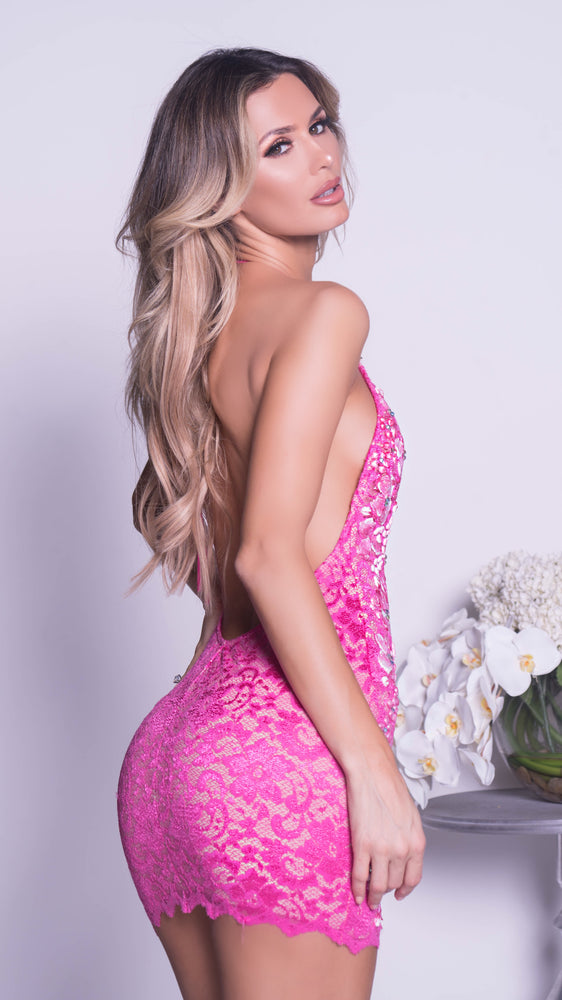APRINE LACE DRESS IN HOT PINK