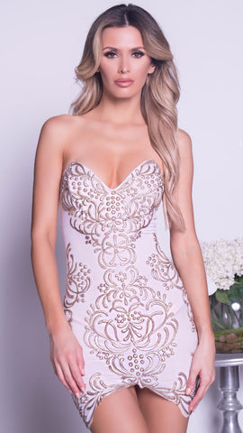 PIPER DRESS IN WHITE WITH GOLD