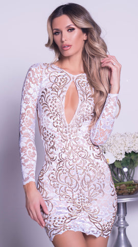 TILA LACE DRESS IN WHITE WITH GOLD