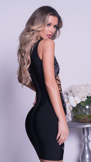 KONAN PAINTED BANDAGE DRESS IN BLACK WITH CRYSTALS