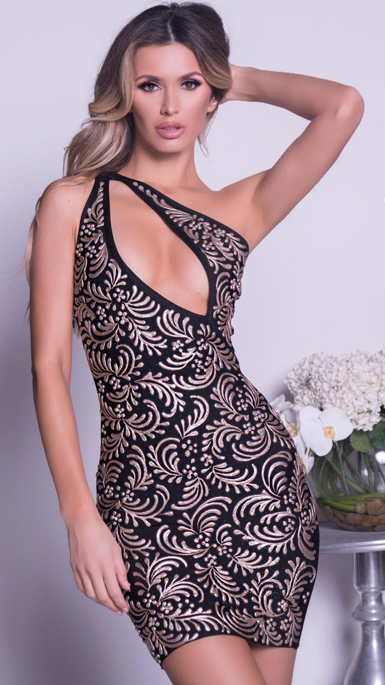 GADORE PAINTED BANDAGE DRESS IN BLACK WITH GOLD
