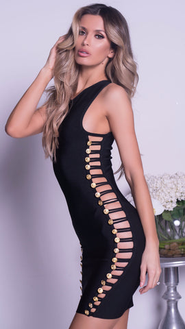 MIAMI BANDAGE DRESS IN BLACK WITH HARDWARE - 3 COLORS