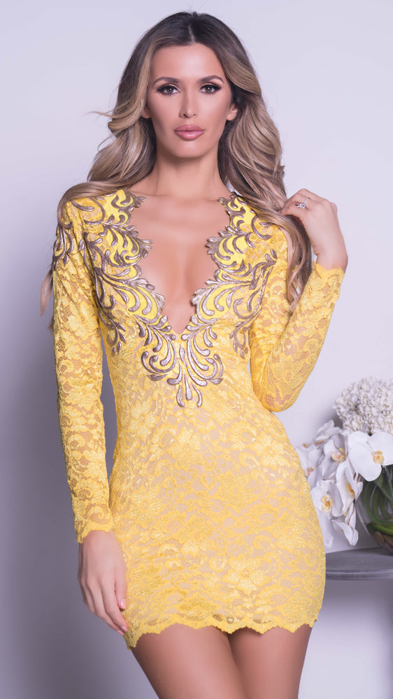 CHIA LACE DRESS IN YELLOW WITH GOLD - MORE COLORS