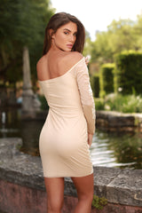 CELINA DRESS IN NUDE WITH WHITE