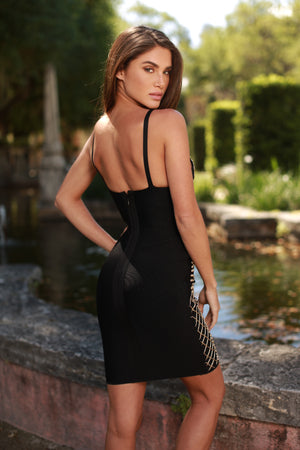 MARK PAINTED BANDAGE DRESS IN BLACK WITH GOLD