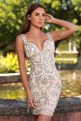 BERENICE DRESS IN BEIGE WITH SILVER