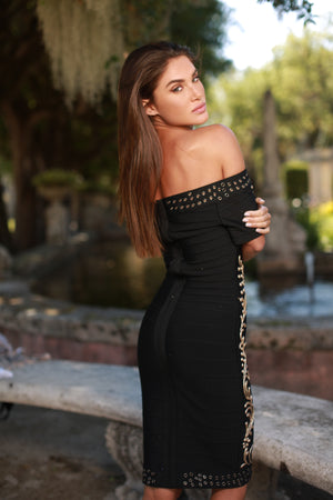MONIK MIDI PAINTED BANDAGE DRESS IN BLACK
