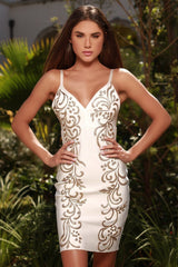 COLLINE PAINTED BANDAGE DRESS IN WHITE WITH GOLD