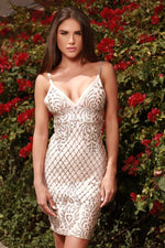 ORALIE PAINTED BANDAGE DRESS IN NUDE WITH SILVER