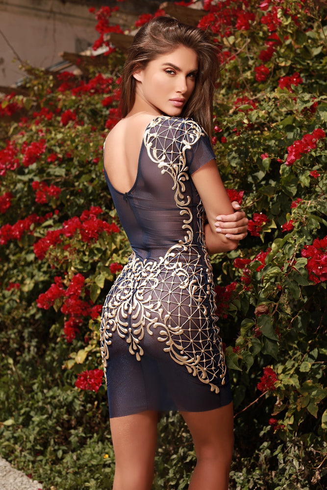 OLYE  DRESS NAVY WITH GOLD