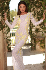 VIPER GOWN IN WHITE WITH YELLOW