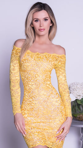 BRINKLEY LACE DRESS IN YELLOW