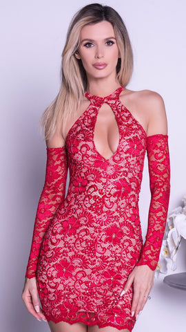 GLORIA LACE DRESS IN RED