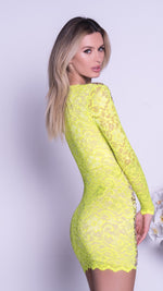 NELIA LACE DRESS IN LIME WITH GOLD