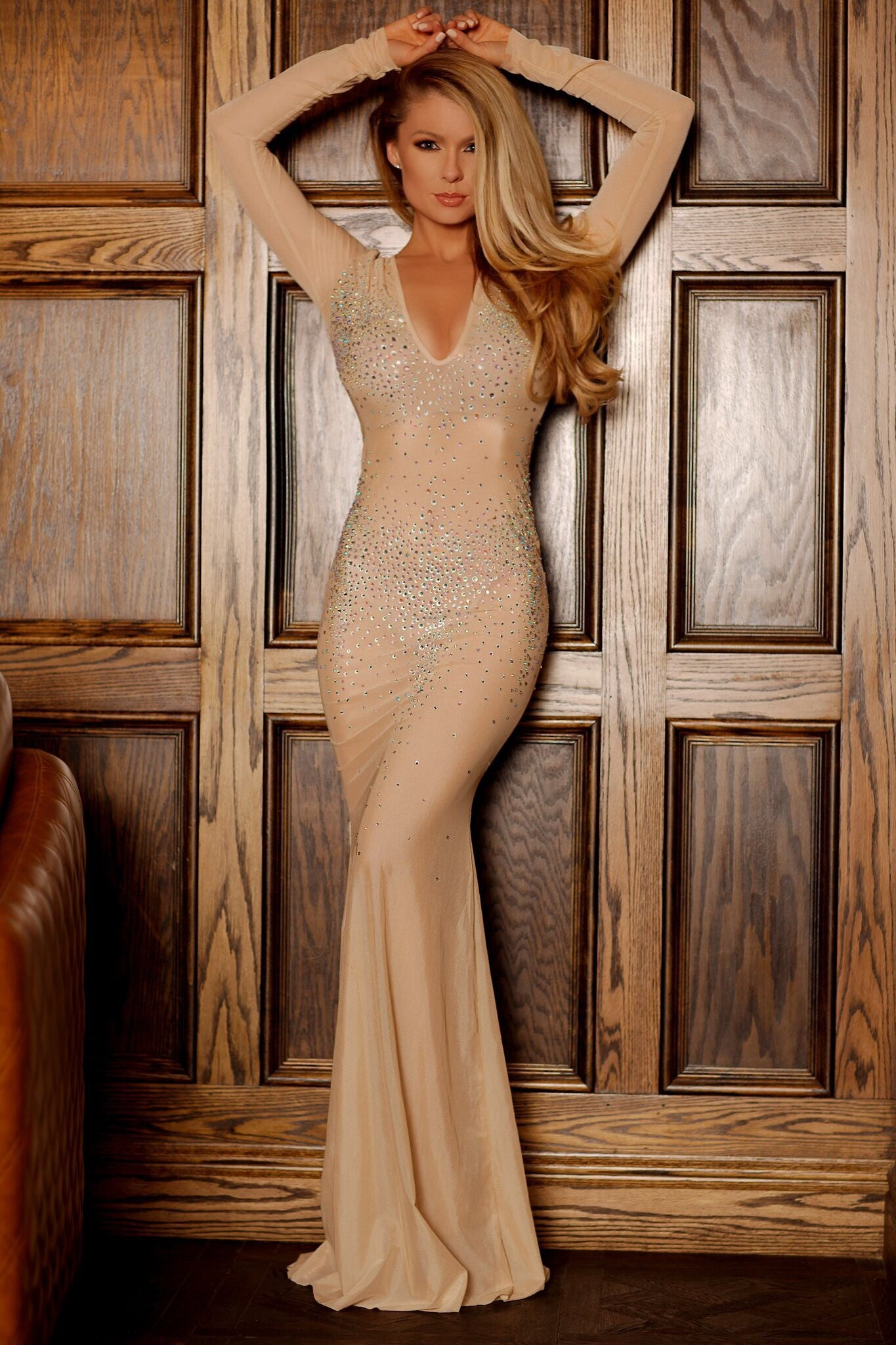 CHARLIE CRYSTAL GOWN IN NUDE