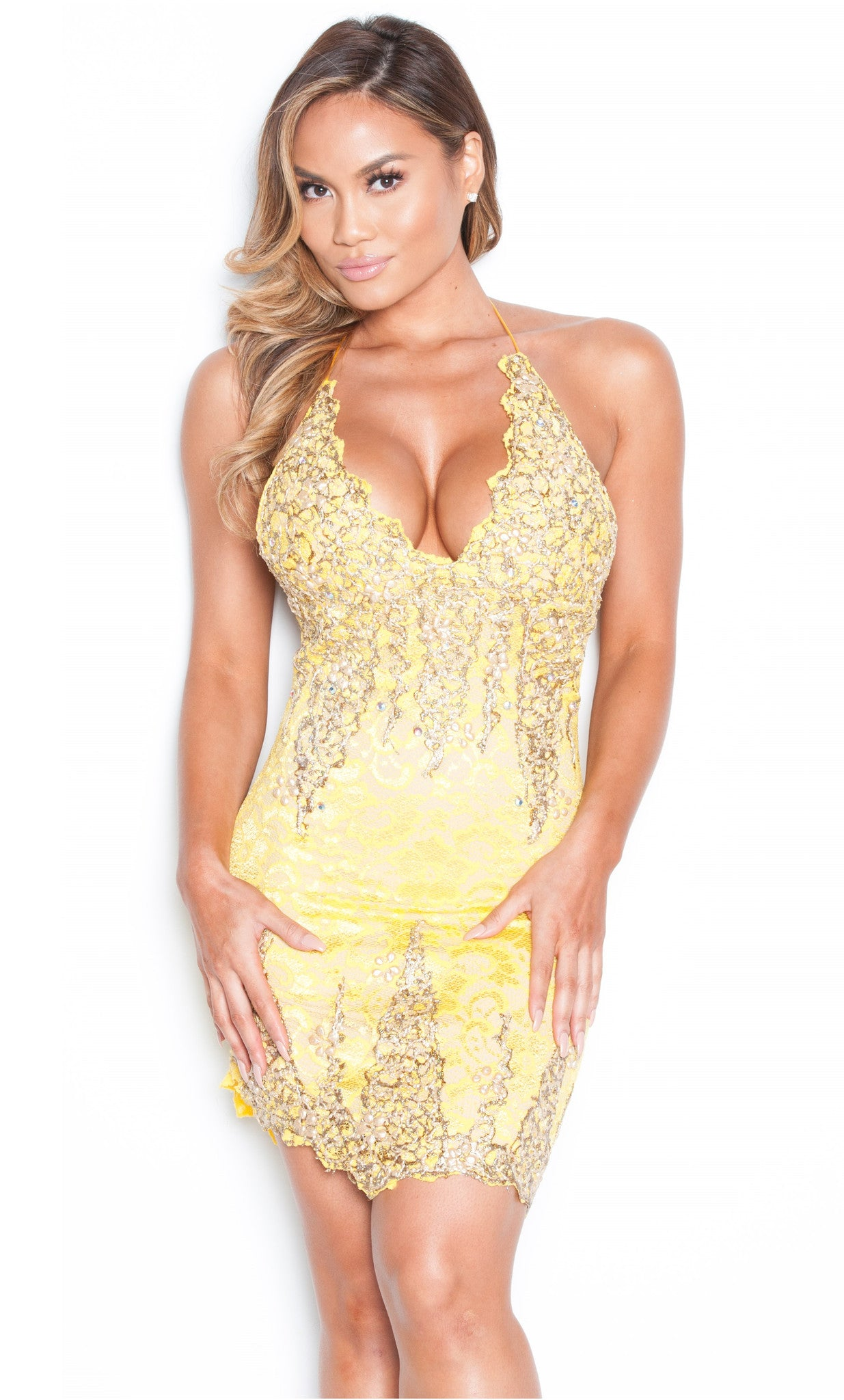 BROOKLYN LACE DRESS IN YELLOW