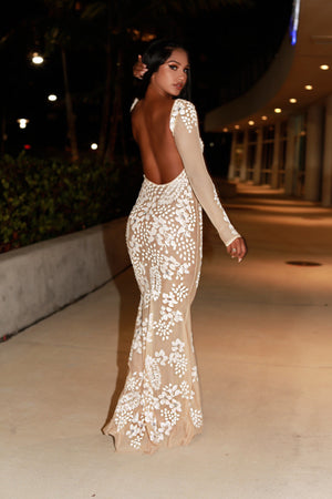 LIAMAD GOWN IN BEIGE WITH WHITE
