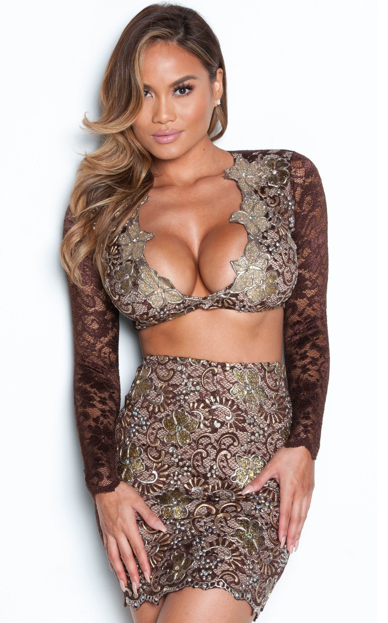MELI TWO PIECE DRESS LACE SET IN BROWN