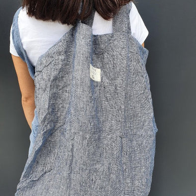 Linen Tote Bag in Dark Blue Woven by Bonnie + Scout