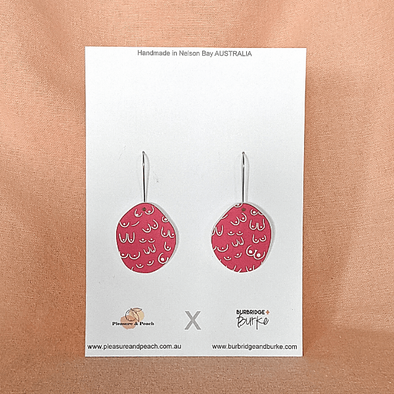 Boob Hook Earrings in Pink by Pleasure and Peach x Burbridge + Burke