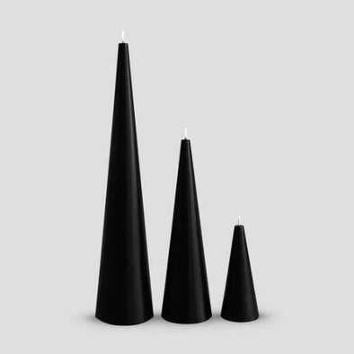 Cone Candles in Black by Candle Kiosk