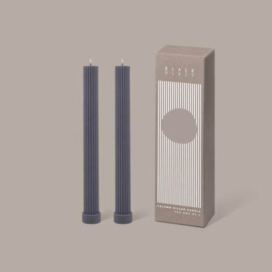 Column Pillar Candle Duo in Grey by Black Blaze