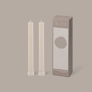 Column Pillar Candle Duo in Warm White by Black Blaze