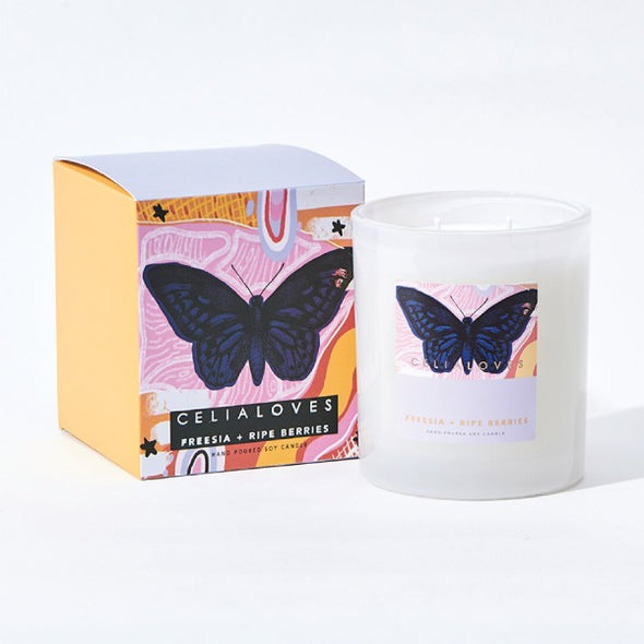 Freesia and ripe berries candle by Ceilia Loves