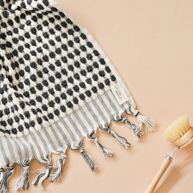 Charcoal + White Pom Pom Hand Towel by Miss April