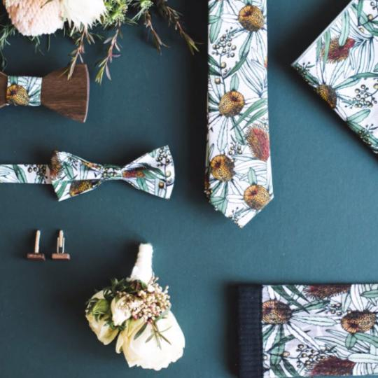 Grey Banksia Bow Tie by Peggy and Finn