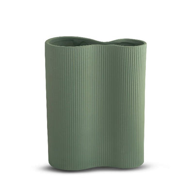 Medium Ribbed Infinity Vase in Leaf by Marmoset Found