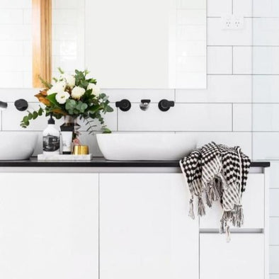 Black + White Pom Pom Hand Towel by Miss April