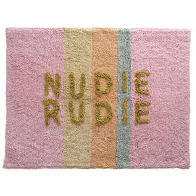 Bubblegum stripe Nudie Rudie bath mat by Sage and Clare