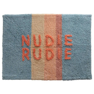 Powder stripe Nudie Rudie bath mat by Sage and Clare