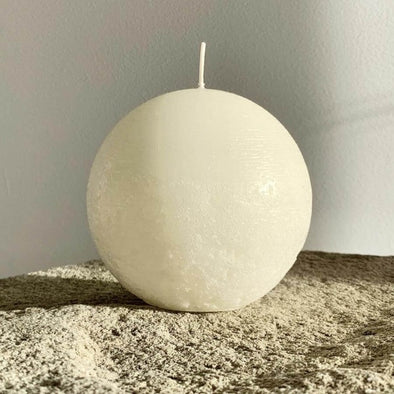 Sphere Candle in White (L) by Candle Kiosk