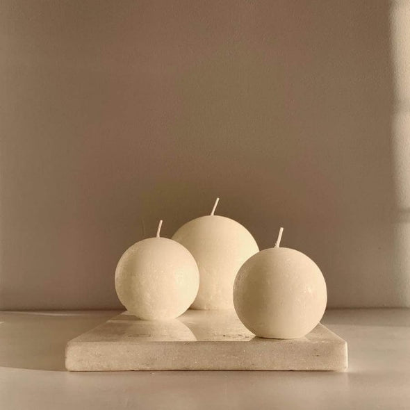 Sphere Candle in White (M) by Candle Kiosk