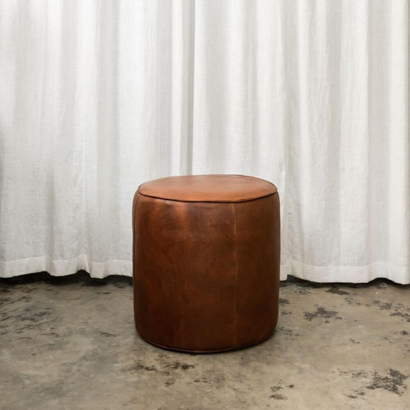 Bill leather pouf by McMullin and Co