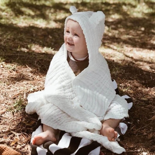 Hooded Cotton Towel with Ears by Dove + Dovelet