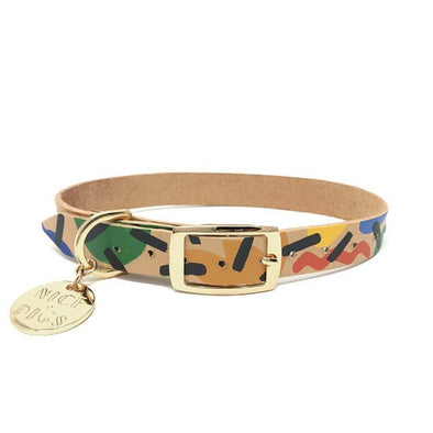 Block Party Leather dog collar by Nice Digs