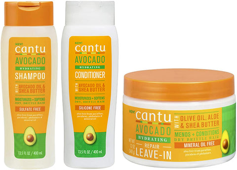 Cantu Avacado Hydrating Cream Shampoo, Conditioner and Leave-In Cream (Set of 3)