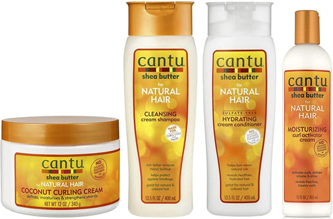 Cantu Coconut Curling Cream 12oz with Sulphate Free Shampoo & Conditioner 12oz & Shea Butter Moisturizing Curl Activator Cream 12oz